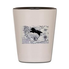 Newfoundland dog Map Shot Glass