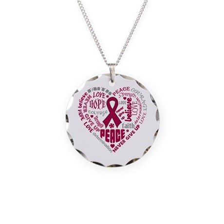 Multiple Myeloma Heart Words Necklace Circle Charm