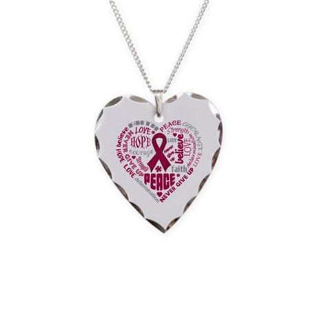 Multiple Myeloma Heart Words Necklace Heart Charm