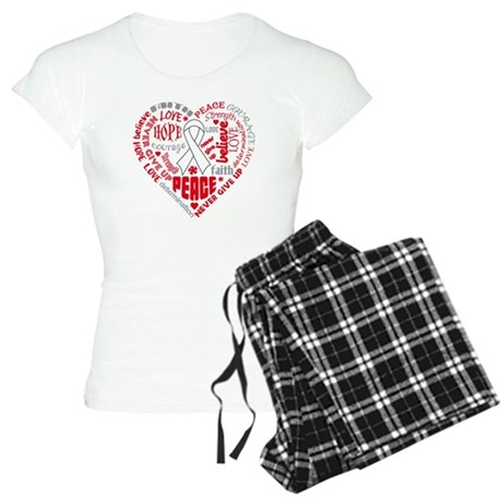 Mesothelioma Heart Words Women's Light Pajamas