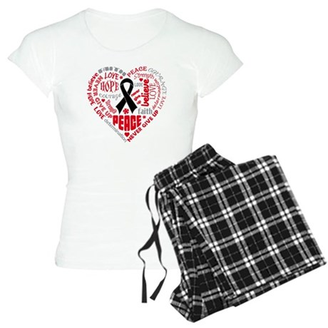 Melanoma Heart Words Women's Light Pajamas