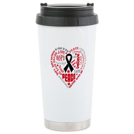 Melanoma Heart Words Ceramic Travel Mug