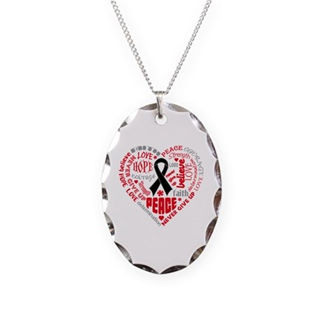 Melanoma Heart Words Necklace Oval Charm