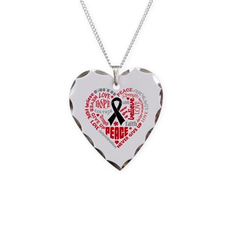Melanoma Heart Words Necklace Heart Charm