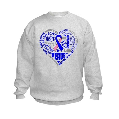 Male Breast Cancer Heart Words Kids Sweatshirt