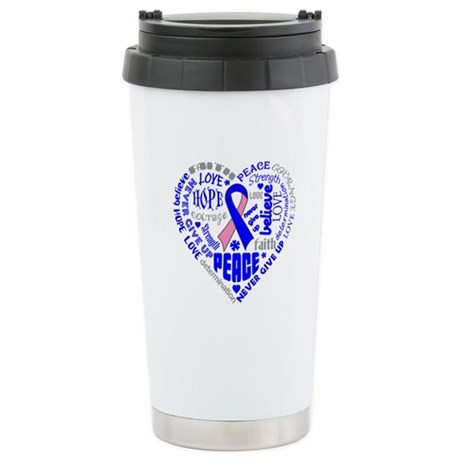 Male Breast Cancer Heart Words Ceramic Travel Mug