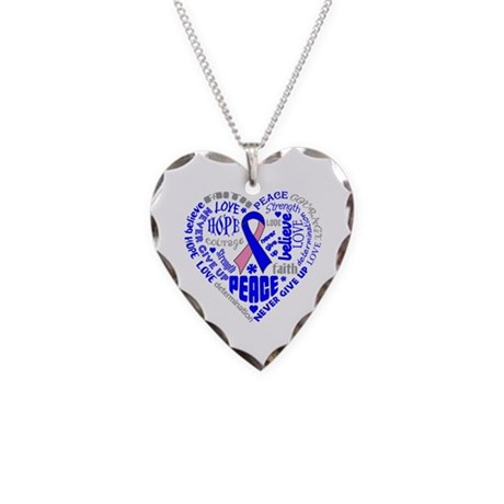 Male Breast Cancer Heart Words Necklace Heart Char