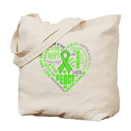 Lymphoma Heart Words Tote Bag
