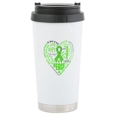 Lymphoma Heart Words Ceramic Travel Mug
