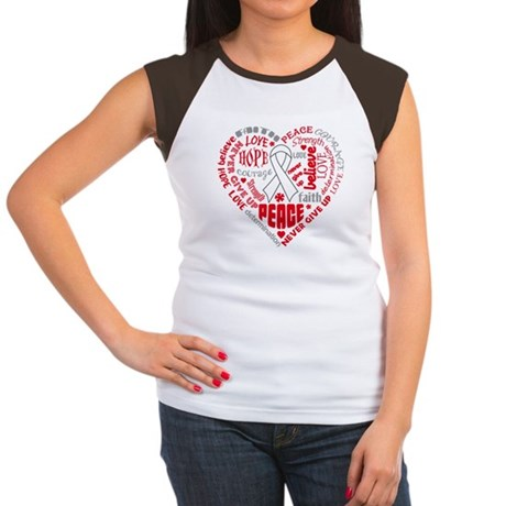 Lung Cancer Heart Words Women's Cap Sleeve T-Shirt