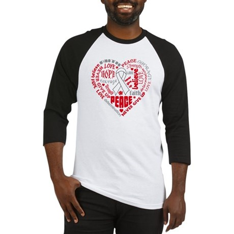 Lung Cancer Heart Words Baseball Jersey