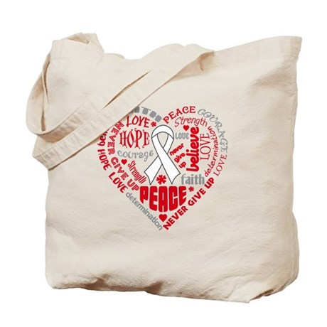 Lung Cancer Heart Words Tote Bag