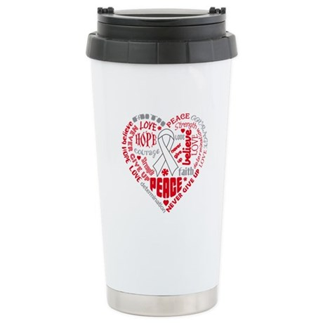 Lung Cancer Heart Words Ceramic Travel Mug