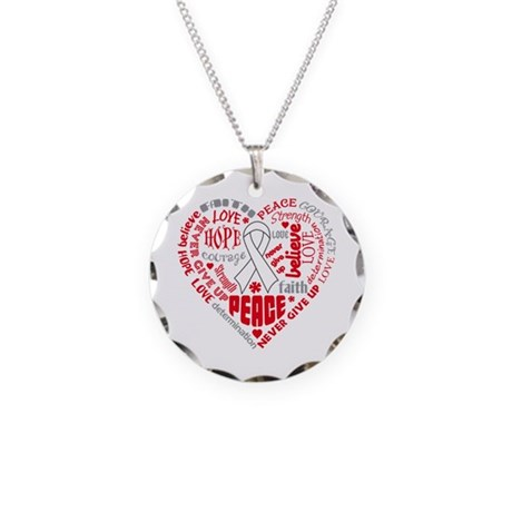 Lung Cancer Heart Words Necklace Circle Charm