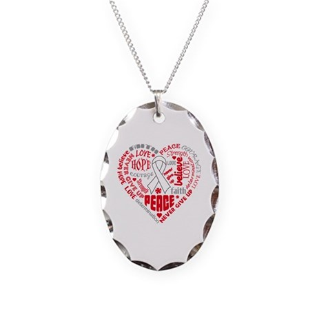 Lung Cancer Heart Words Necklace Oval Charm
