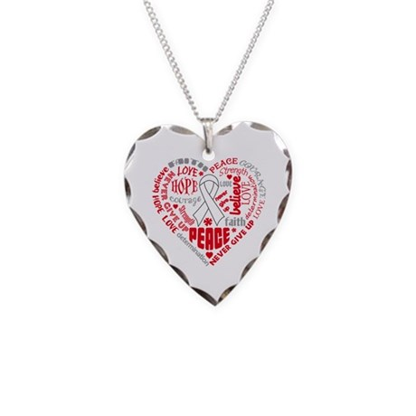 Lung Cancer Heart Words Necklace Heart Charm