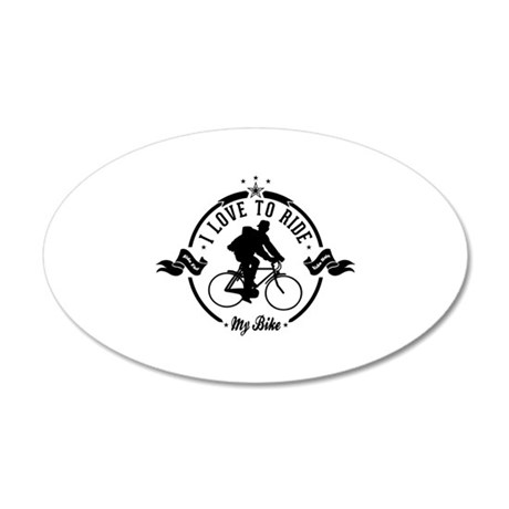 I Love To Ride My Bike 20x12 Oval Wall Decal