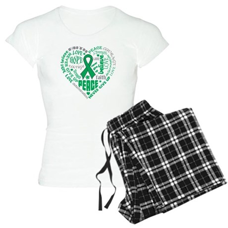 Liver Cancer Heart Words Women's Light Pajamas