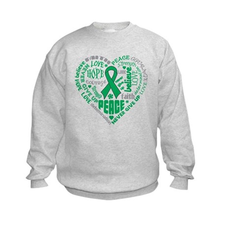 Liver Cancer Heart Words Kids Sweatshirt