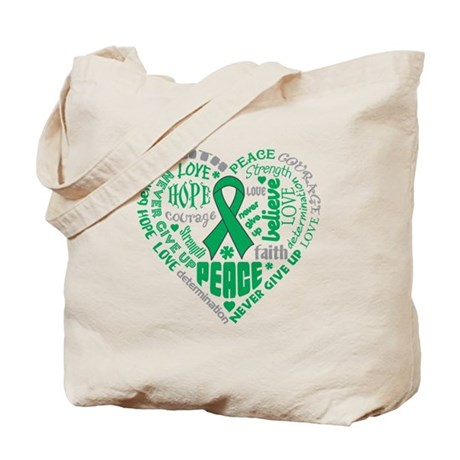 Liver Cancer Heart Words Tote Bag