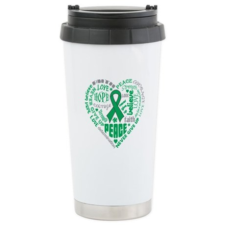 Liver Cancer Heart Words Ceramic Travel Mug