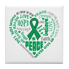 Liver Cancer Heart Words Tile Coaster