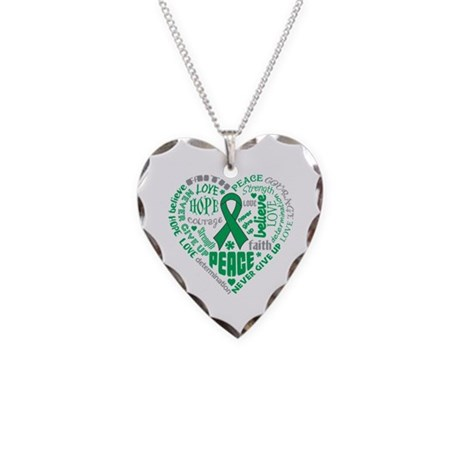 Liver Cancer Heart Words Necklace Heart Charm