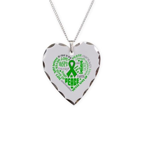 Kidney Cancer Heart Words Necklace Heart Charm