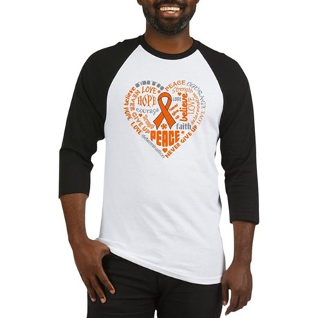 Kidney Cancer Heart Words Baseball Jersey