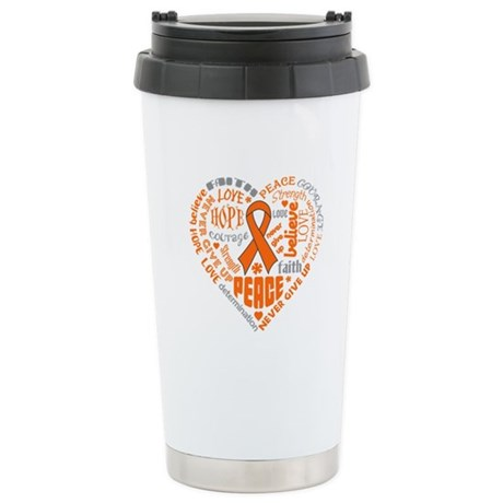 Kidney Cancer Heart Words Ceramic Travel Mug