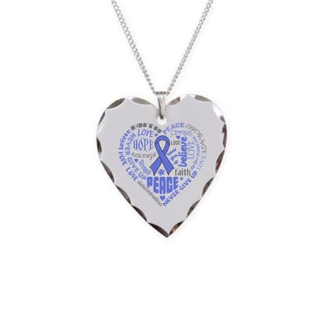 Intestinal Cancer Heart Words Necklace Heart Charm