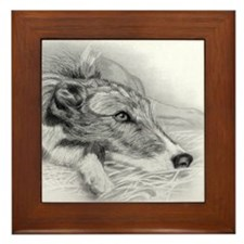 Lurcher Dog Framed Tile