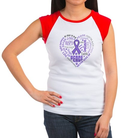 Hodgkins Lymphoma Heart Words Women's Cap Sleeve T