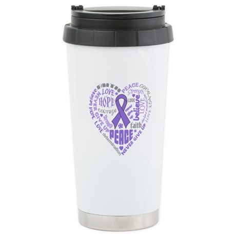 Hodgkins Lymphoma Heart Words Ceramic Travel Mug
