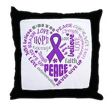 GIST Cancer Heart Words Throw Pillow