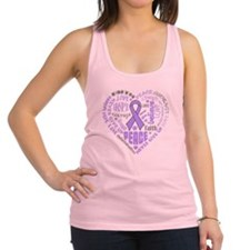 General Cancer Heart Words Racerback Tank Top