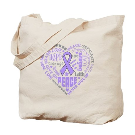 General Cancer Heart Words Tote Bag