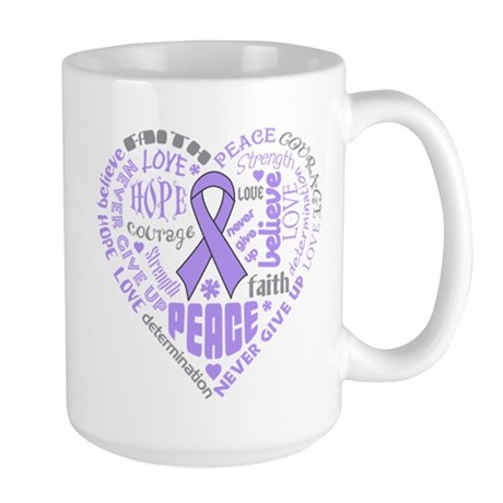 General Cancer Heart Words Large Mug