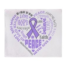 General Cancer Heart Words Throw Blanket