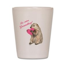 Groundhog-BeMine-Pink-Heart Shot Glass