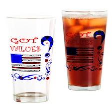 GOT VALUES on black Drinking Glass