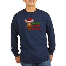 Cute Merry Kiss A Moose Christmas T