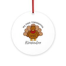 Baby Turkey 1st Thanksgiving Ornament (Round)