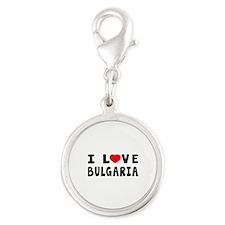 I Love Bulgaria Silver Round Charm