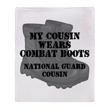 National Guard Cousin Combat Boots Throw Blanket