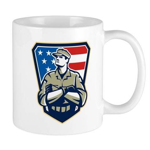American Soldier Arms Folded Flag Retro Mugs