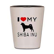 I Love My Dog Shiba Inu Shot Glass
