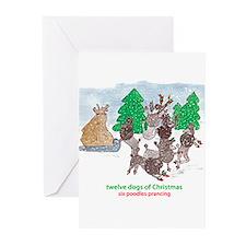 Six Poodles Prancing Greeting Cards (Pk of 10)
