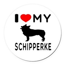 I Love My Dog Schipperke Round Car Magnet