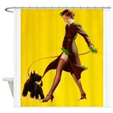 Pin Up Girl, Walking, Scottie Dog,Vintage Poster S